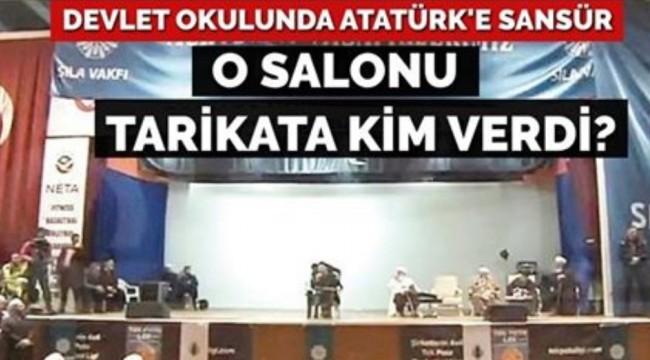 Devletin okulunda Atatürk posterlerini kapattılar! O salonu tarikat vakfına kim verdi?